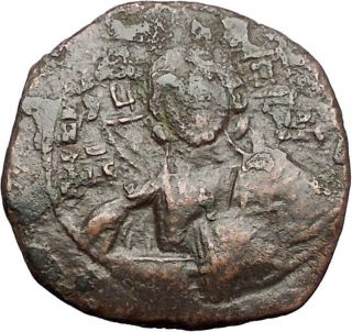 Jesus Christ Class A2 Anonymous Ancient 1025ad Byzantine Follis Coin I55567 photo