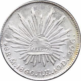 Mexico 8 Reales Mo 1860 T.  H.  Mexico. photo