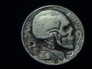 1938 - D Hobo Nickel - Skull - 1195 photo