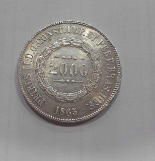 Brazil 2000 Reis,  1865 Excelent Conditon photo