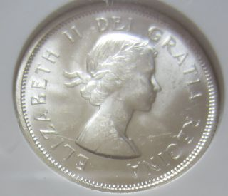 1957 Canada Silver Twenty - Five Cents Coin.  Quarter.  Ngc Ms - 64 Unc 035 photo