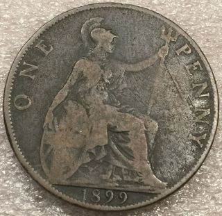 1899 Great Britain British Penny Antique Queen Victoria Large Bronze Coin photo