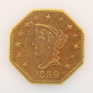 1859 California Gold Token - Octagonal Liberty With Star photo