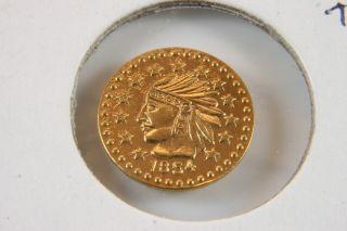 1854 California Gold Token - Round Indian 1/2 photo