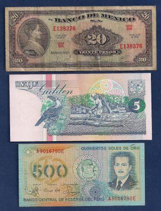 Mexico 20 Pesos 1970 P - 54p,  Suriname 5 Gulden,  Peru 500 Soles De Oro P - 125a photo