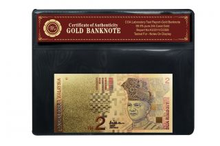 Colored 2 Ringgit Paper Bill Malaysia Banknote Plated With 999 24k Gold photo