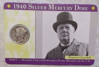 1940 United States Mercury Dime 900 Silver Coin Winston Churchill Prime Minister photo