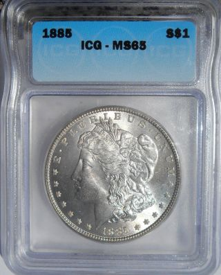 1885 Morgan Silver Dollar  Blast White  Ms 65 State 65 photo