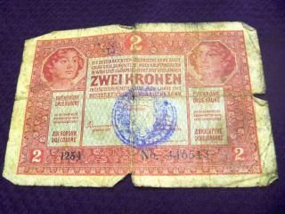 Austria Hungary Ket Korona Zwei 2 Kronen Banknote Stamped Rrr Banknote No3 1917 photo