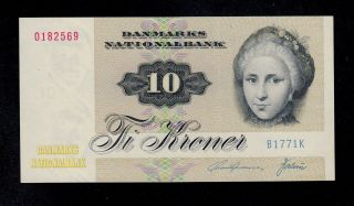 Denmark 10 Kroner (19) 77 Pick 48g Unc Banknote. photo
