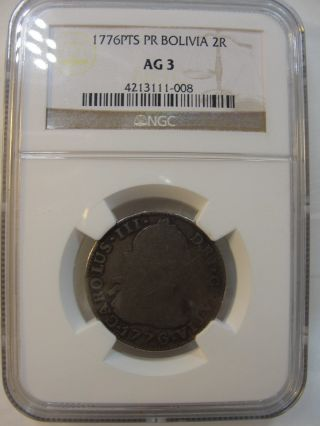 1776 Pts Pr Bolivia 2 Reales Silver Coin Ngc Ag 3 photo