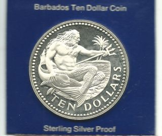 Barbados 1974 10 Dollars Silver Proof Coin photo