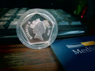 Fiji 5$ Silver Proof 1999 Millennium 2000 - Pentagonal Coin - Rare & photo