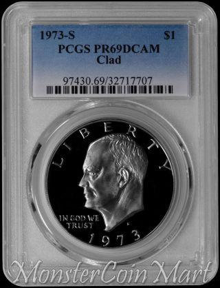 1973 - S Clad Eisenhower Dollar Pcgs Pr69dcam photo