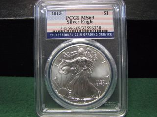 2015 U.  S.  Silver Eagle Graded By Pcgs Ms 69 W/ Flag Label Gorgeous photo