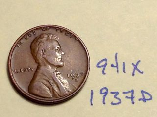 1937 D Lincoln Cent Fine Detail Great Coin (941x) Wheat Back Penny photo