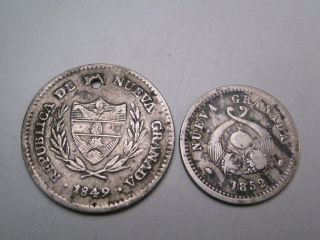 2 Colombia Silver Coins; 1849 2 Reales & 1852 1 Reales.  Nueva Granada - Bogota photo
