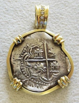 1620 ' S Silver Atocha Shipwreck Salvage 2 Reales In 18k Gold Bezel (no) photo