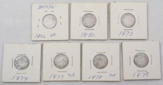 Great Britain Silver Threepence 3 Pence 1836 1850 1873 1874 1877 1878 1879 Lotx7 photo