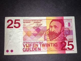 Vijfen Twintig Gulden $25 Banknote 1971 photo