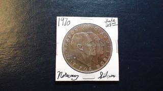 1970 Norway Twenty Five Kroner.  875 Silver 25kr Uncirculated Coin photo