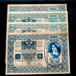 1902 Austria Large Banknote 1000 Kronen Aunc photo
