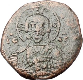 Jesus Christ Class A2 Anonymous Ancient 1028ad Byzantine Follis Coin I46615 photo