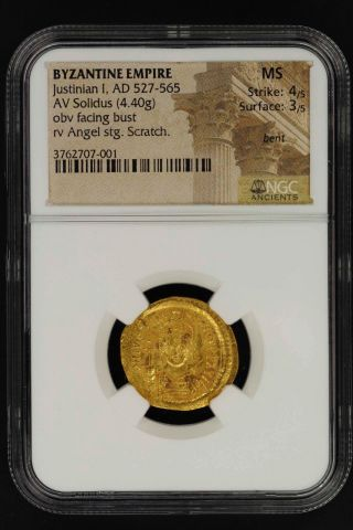 Byzantine Empire Justinian I Gold Av Solidus (4.  40g) Ad 527 - 565 Ngc Ms - 147798 photo