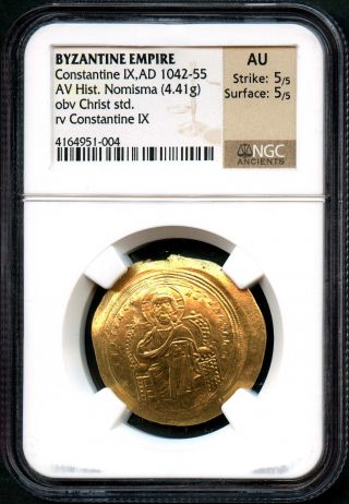 Byzantine Empire Constantine Ix Gold Hist.  Nomisma Ad 1042 - 55 Ngc Au - 138123 photo