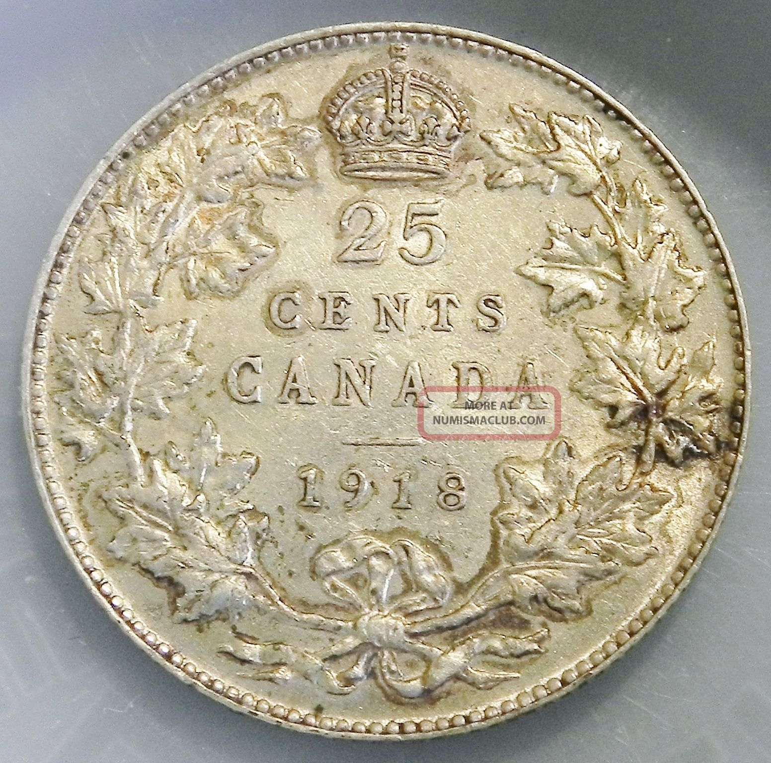 Canadian 1918 25 Cent Sterling Silver Quarter Coins: Canada photo