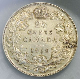 Canadian 1918 25 Cent Sterling Silver Quarter photo