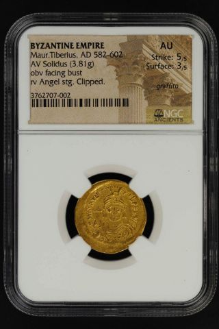 Byzantine Empire M.  Tiberius Gold Av Solidus (3.  81g) Ad 582 - 602 Ngc Au - 147800 photo