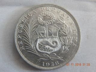 1928 Peru 1/2 Sol - Silver (. 2009 Asw) Bu Coin - 30 Mm photo