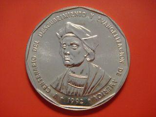 Dominican Republic 1 One Peso,  1992,  Christopher Columbus Unc photo
