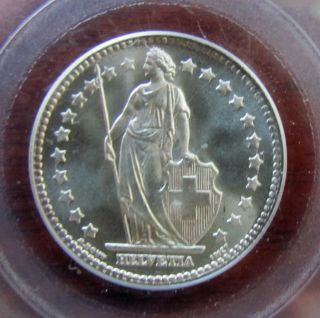 1920b Switzerland Silver 1 Franc Coin Pcgs Ms66 photo