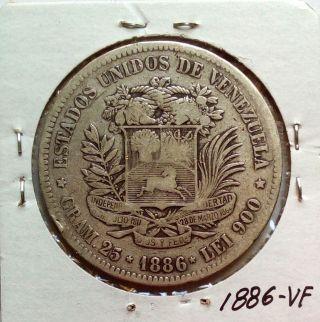 Venezuela Gram 25,  5 Bolivares 1886