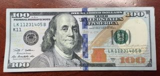 $100 Dollar Bill Us Paper Money Bill Federal Reserve Cash Bank Note One Hundred photo