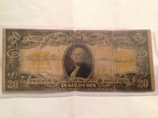 1922 $20 Twenty Dollars Large Gold Certificate Currency Note photo