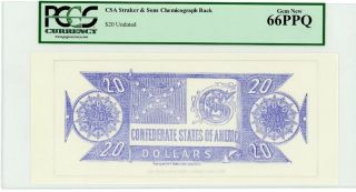 $20 Chemicograph Back Intended For $20 Confederate Note - Pcgs Gem 66 Ppq photo