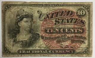 1869 - 75 U.  S.  Fractional Currency 4th Fourth Issue 10 Cent Note Fine photo