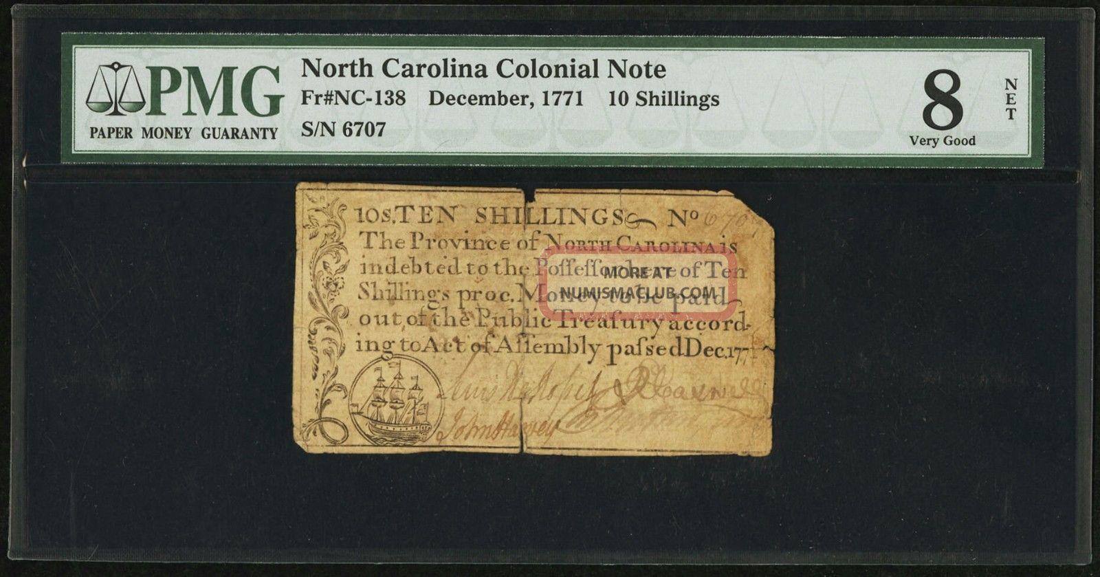 1771 North Carolina Colonial Note 10s Ten Shillings Nc - 138 Pmg Vg8 Vg 8 Net Paper Money: US photo