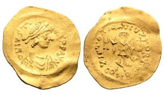 Rare Ancient Byzantine Gold Coin : Tremissis - Justin I - 518 - 527 - Good Deal photo