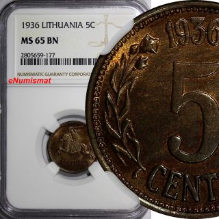Lithuania Bronze 1936 5 Centai Ngc Ms65 Bn 1 Year Type Km 81 photo