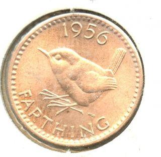 1956 British Farthing Bu Copper photo
