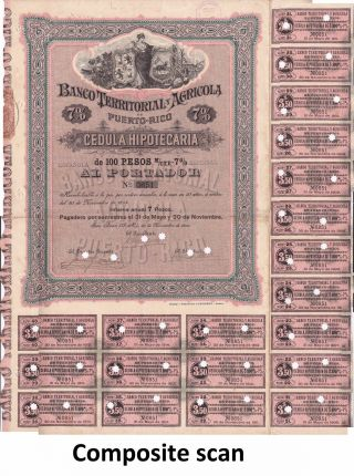 1895 100 Pesos 7 Puerto Rico Banco Territorial Y Agricola Bond.  Large,  Ornate. photo