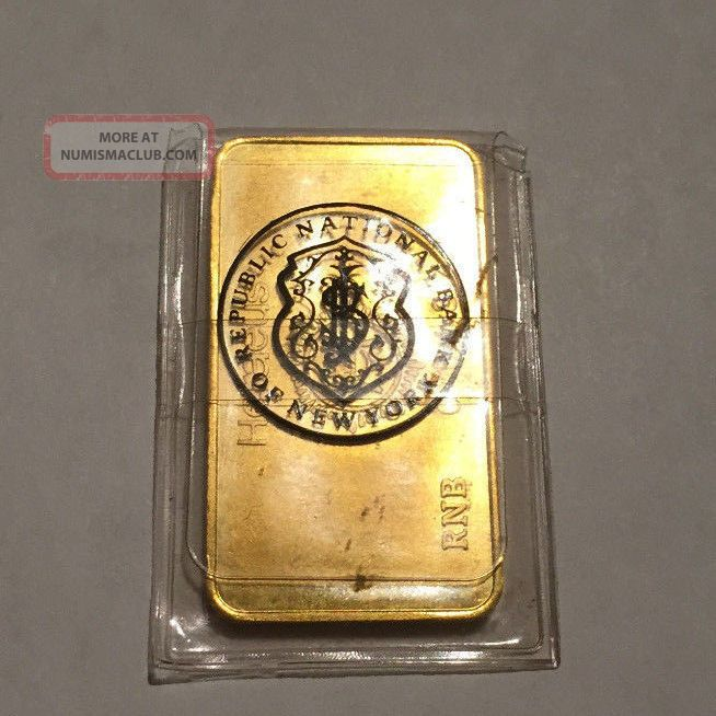 1 Troy Ounce Gold Bar Republic National Bank Of Ny 9999