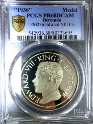 Bermuda 1936 Edward Viii Pcgs Pr68dcam Secure Gem Proof Medal Scarce photo