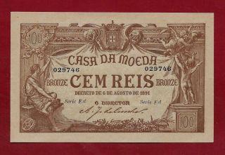 Portugal Portuguese 100 Reis 1891 P - 90 Gem Unc photo