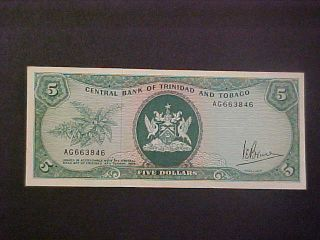 1964 Trinidad And Tobago Paper Money - 5 Dollars Banknote photo