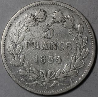 1834 - L France Silver 5 Francs 423k Minted Coin (16061635r) photo
